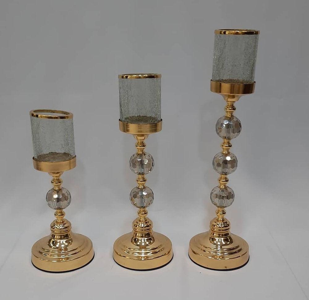 دکوری شمدان ۳ سایز ۶ گوی کریستال رومیزی رنگ ثابت  طلایی و سیلور  ارتفا :  30 . 40 . 50 سانت