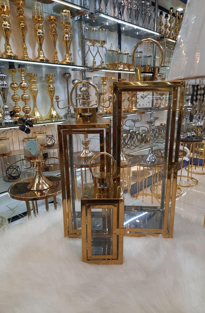 دکوری فانوس تخت طلا  ابکاری فورتیک  ۳ سایز  ارتقا ۳۰ . ۴۰ . ۵۰  رنگ طلایی