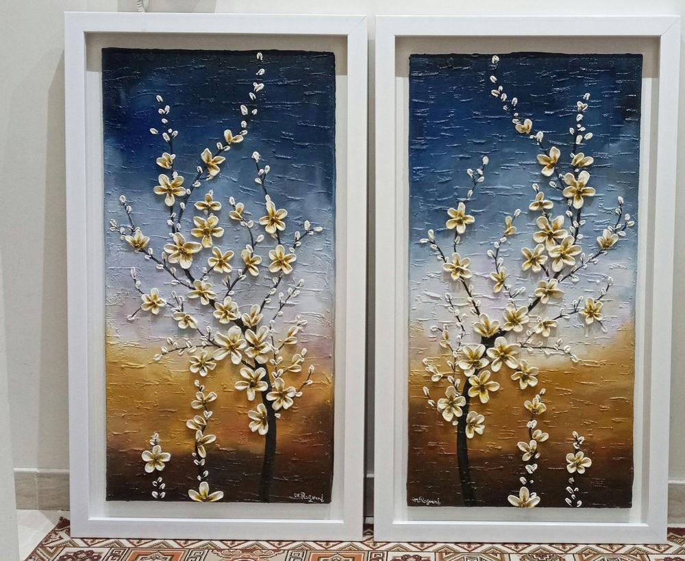 گالری نقاشی مروارید تابلو نقاشی برجسته به عنوان گلهای  بهاری  تکنیک رنگ روغن  ابعاد: 100*50 قیمت هر عدد 2/000/000 T فروشی فوری