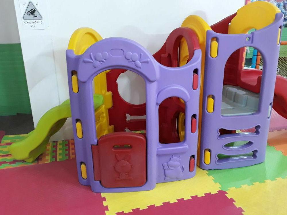 اسباب بازی، تجهیزات و وسایل مینی پارک و مهد کودک مجموعه دو برج دو سرسره همراه با تونل رابط