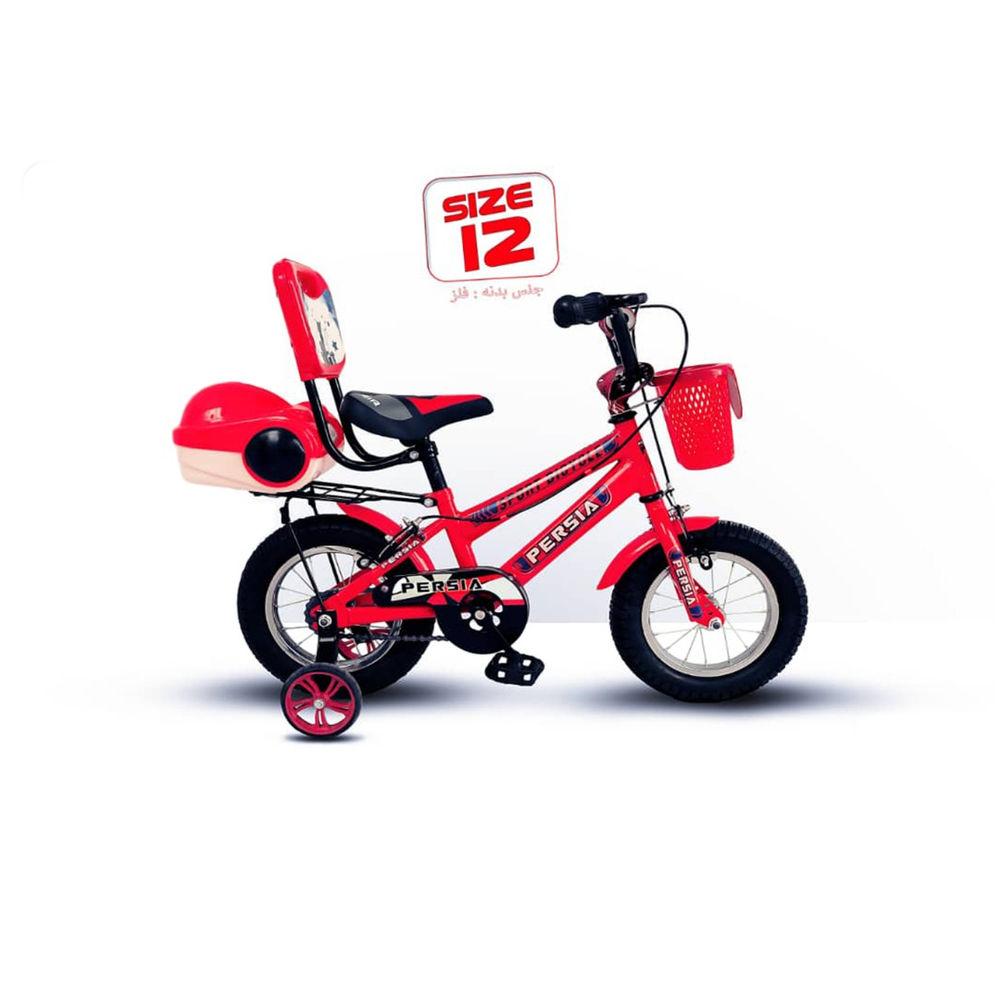 فروشگاه فست کیدز دوچرخه سایز 12 برند پرشیا جنس بدنه آهن لوازم چینی دارای سبد-ترکبند-پشتی زین و صندوق عقب