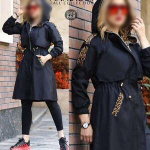 پوشاک زنانه شاپرک مانتو  جنس کتان خرجکاری شده  سایز ۳۸ تا۴۰ کلاه دار رنگ مشکی